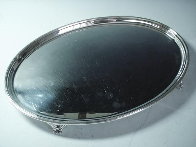 An oval silver salver by Roberts and Belk, Sheffield 1971