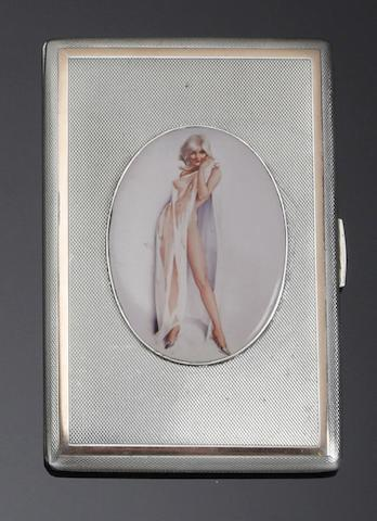A rectangular silver and enamel cigarette case Birmingham 1948