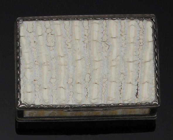 A Victorian silver mounted rectangular elephants tooth snuff box unmarked, circa 1840