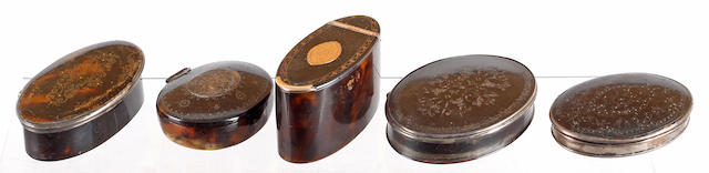 A George III gold mounted oval tall boxthe hinged lid centred with an engraved name plate, 49mm high, 80mm long and three 18th Century tortoiseshell and pique work oval snuff boxes (5)