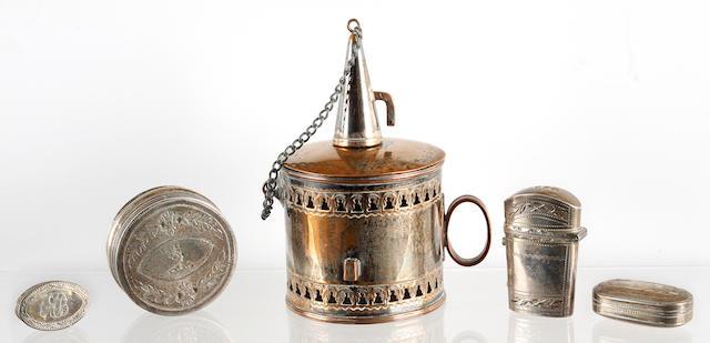 A George III silver pill box