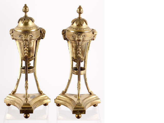 A pair of French gilt brass cassoletsLate 19th/early 19th Century
