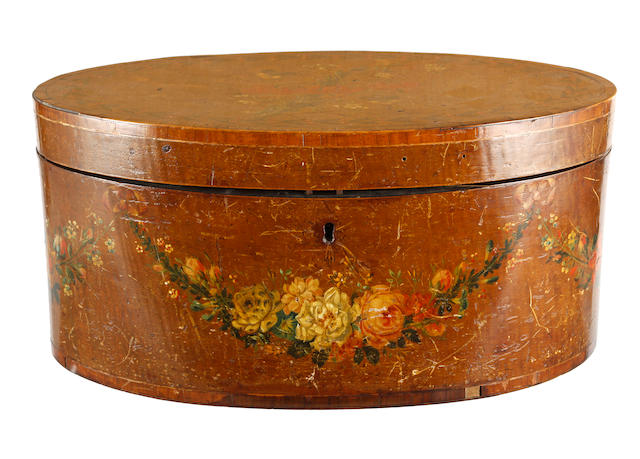 A George III satinwood and crossbanded oval box