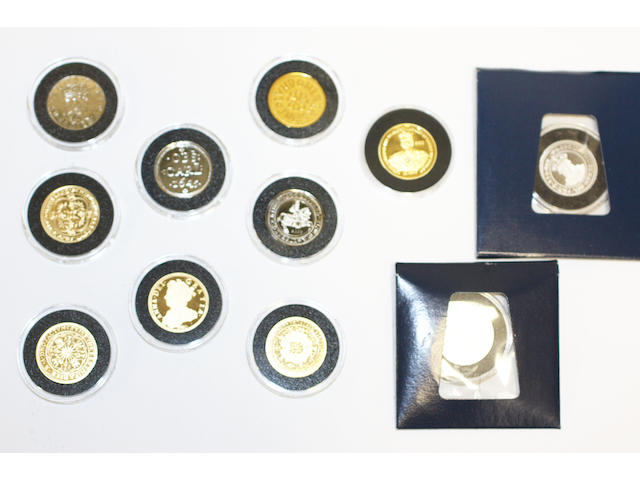 A collection of gold reproductions of classic English coins by The London Mint Office, (11)