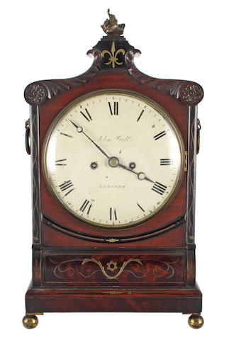 John Bull, Bedford: A William IV brass inlaid mahogany bracket clock