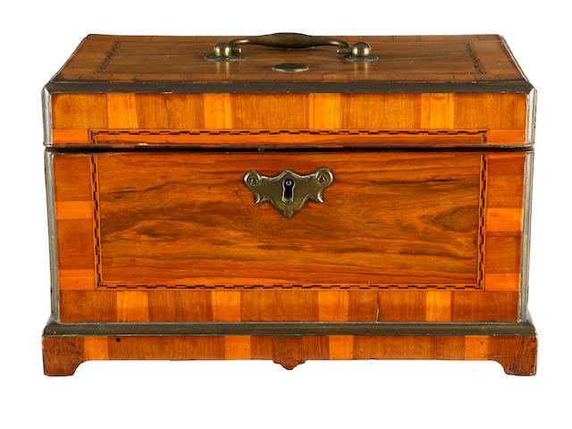A George III walnut tea caddy