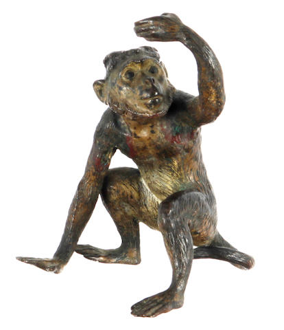 An Austrian cold painted model of a monkey