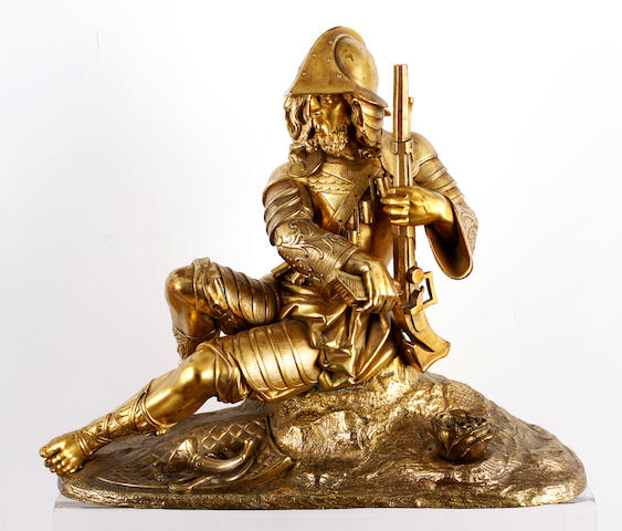 A late 19th century gilt bronze of a German Musketeer