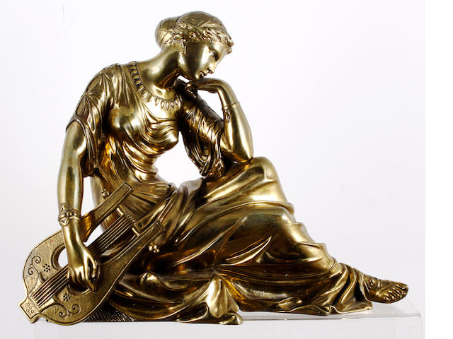 A 19th century bronze of a female lyre player