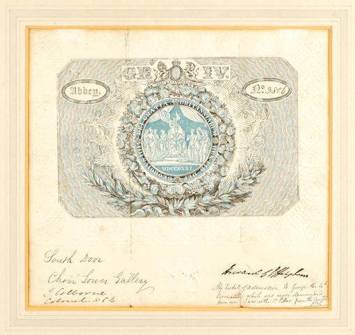 An admission ticket to the coronation of George IV (1821) no 3806,
