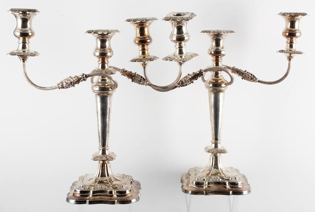 A pair of silver table candleabra