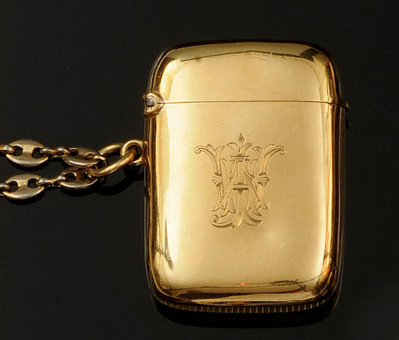 An Edwardian 18ct gold vesta case