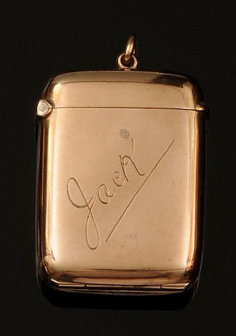 An Edwardian 9ct gold vesta case