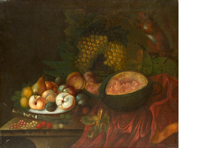Follower of Tobias Stranover (Sibiu 1684-circa 1731 London) A squirrel eating grapes, with peaches and pears on a pewter dish and a melon on a draped cloth