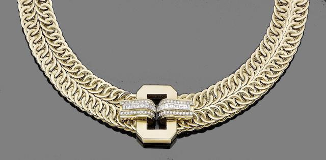 A diamond set necklace, by Adler
