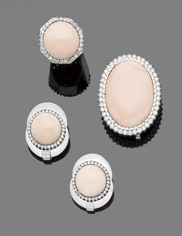 A coral and diamond brooch, earring and ring suite (3)