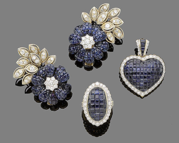 A sapphire and diamond pendant, ring and earring suite (3)