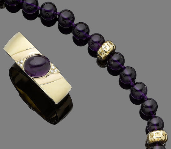 An amethyst bead necklace and an amethyst and diamond bangle (2)