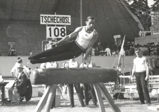 Gymnastics An album of 90 photographs taken by a member of the Czechoslovakian gymnastics team inside the Dietrich Echart-Bühne