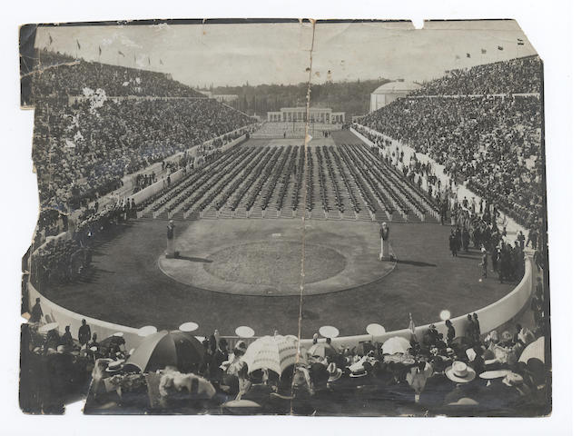 OPENING CEREMONY A photograph of the opening ceremony in the Panathinaiko stadium, [1896]