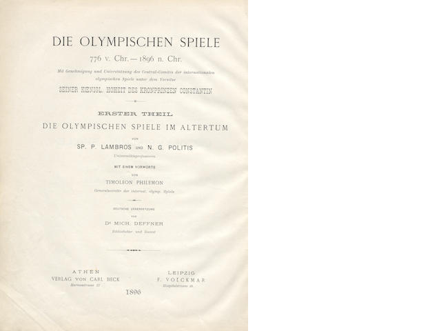 LAMBROS (SP. P) and N. G. POLITES Die Olympischen Spiele/The Olympic Games B.C. 776 - A.D. 1896