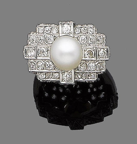 An art deco pearl and diamond ring,