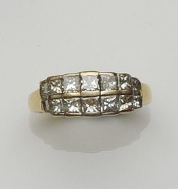 A two row half hoop ring