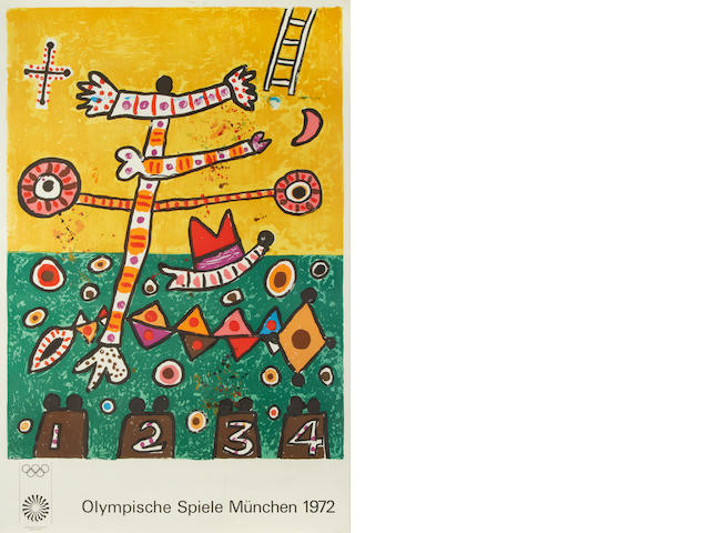 Alan Davie, (British, born 1920) 1972 Munich Olympics poster  Lithographic poster in colours, 1972, signed, dated and inscribed 'asrtist's proof' in pencil, 1050 x 700mm  (41 1/4 x 27 1/2in)(SH)