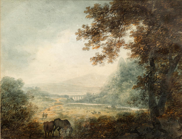 William Payne (British, 1760-1830) Wooded valley with horses in the foreground and a viaduct beyond