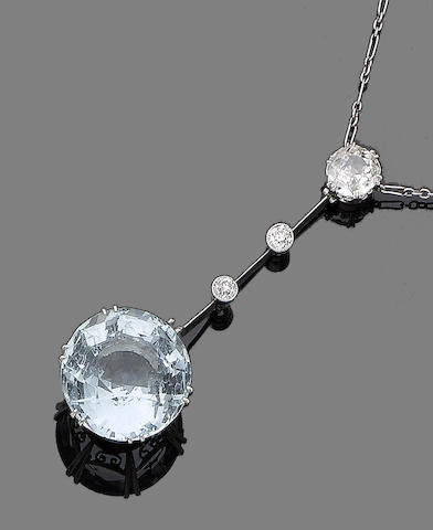 An aquamarine and diamond necklace,