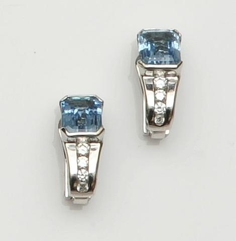 Boodles: A pair of aquamarine and diamond earclips