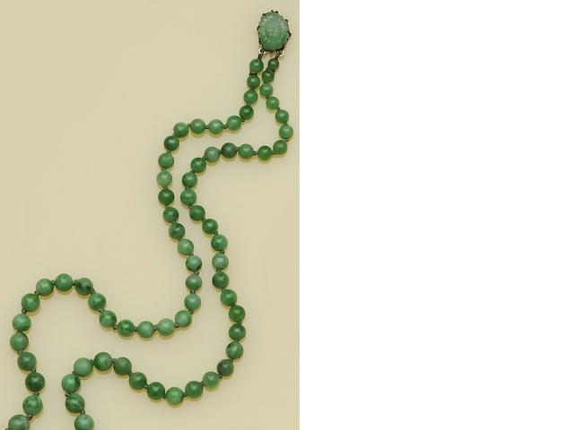 A double row treated jade bead necklace
