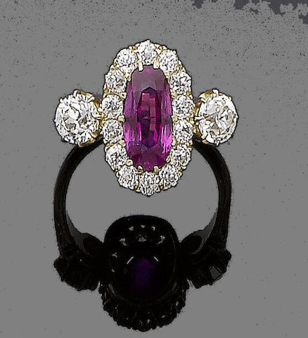 A late 19th century ruby and diamond ring