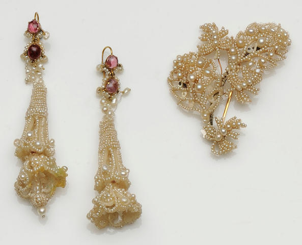 A 19th century seed pearl brooch and earpendants suite (3)