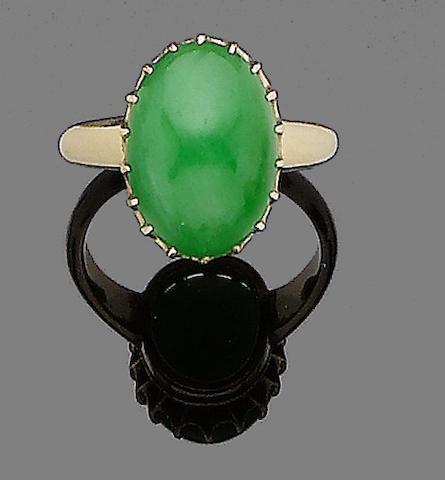 A jadeite jade ring