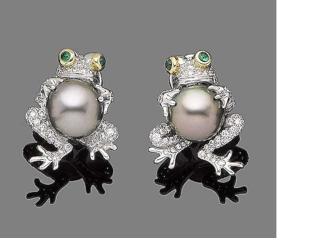 A pair of cultured pearl, emerald and diamond earrings, by Tiffany & Co.,