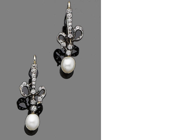 A pair of gold, pearl and diamond earrings,