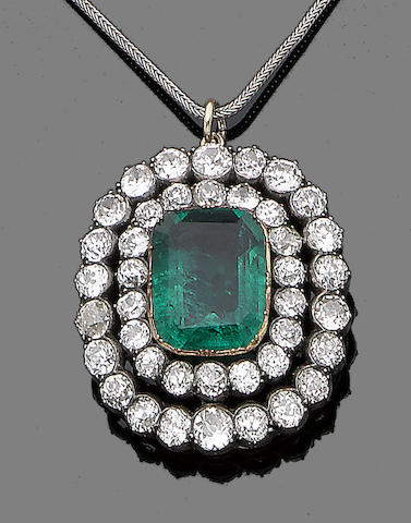 A soudé emerald and diamond pendant