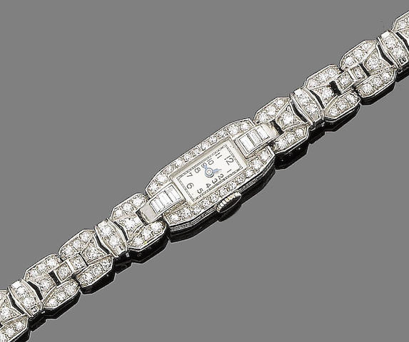 An art deco diamond cocktail watch,