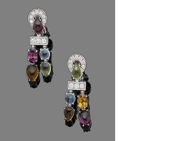 A pair of gem-set earrings, by Bulgari