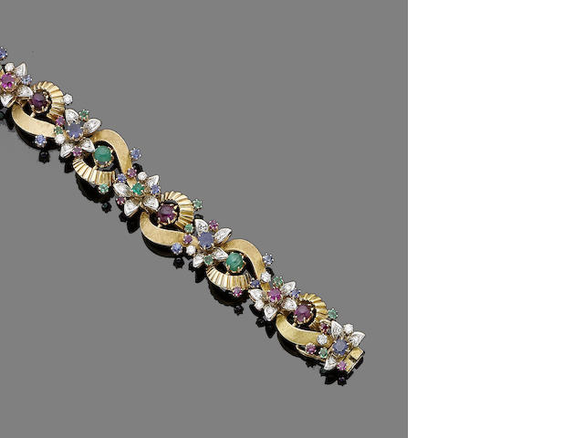A gem-set fancy-link bracelet (2) (partially illustrated)