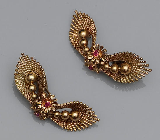 Kutchinsky: A pair of ruby earclips