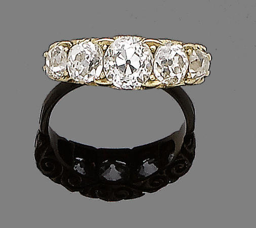A late 19th century diamond five-stone ring