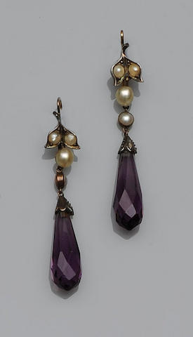 A pair of half pearl and amethyst earpendants