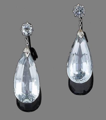 A pair of aquamarine pendent earrings