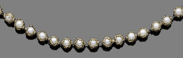 A cultured pearl and gold necklace and a baroque pearl drop, by Charles de Temple (2) (partially illustrated)