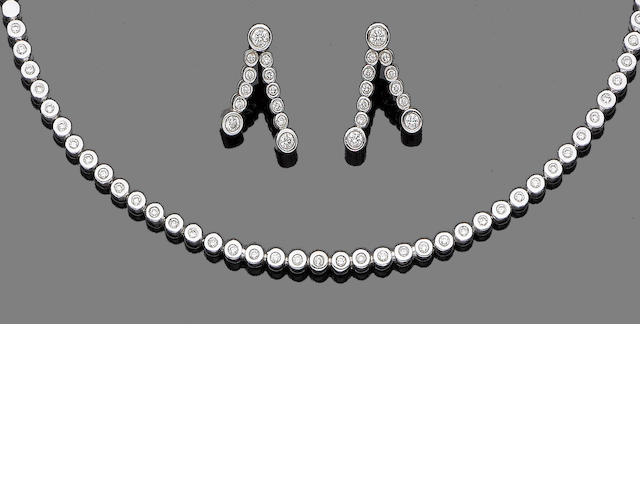 A diamond necklace and earring suite (2)