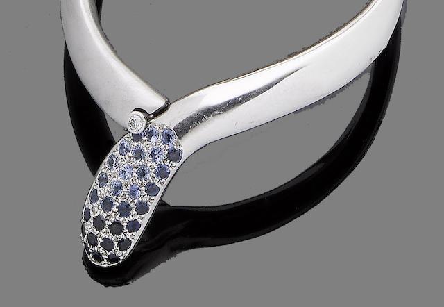 A sapphire and diamond-set bangle