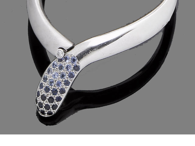 A sapphire and diamond-set bangle