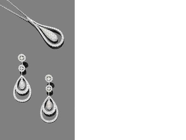 A diamond-set necklace and pendent earrings (2)